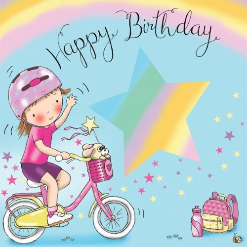 TW639 - Girls Happy Birthday Card Bicycle